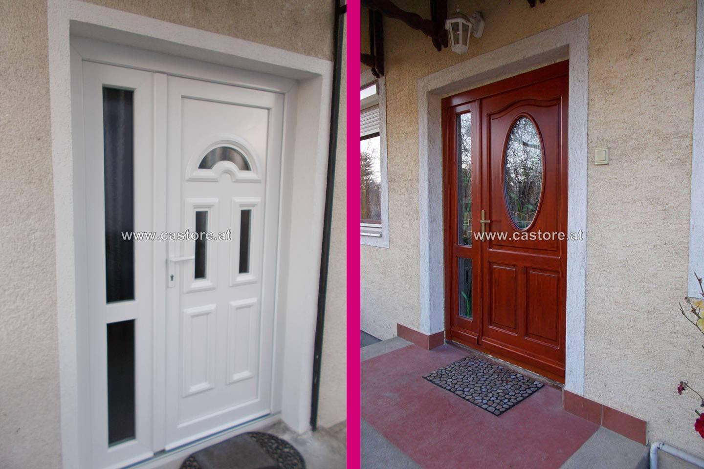 Kunstofftür und Holztür